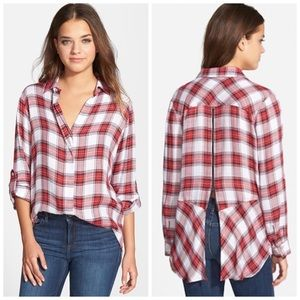SAM EDELMAN Back Zip Plaid Shirt Red White Medium